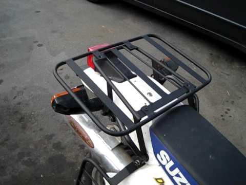 SUZUKI DR 650 rear cargo rack and soft bag support rack.