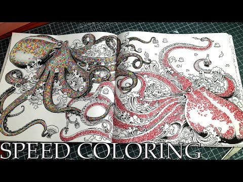 Coloring Book Animorphia Octopus with Polychromos Colored Pencils Speed Coloring