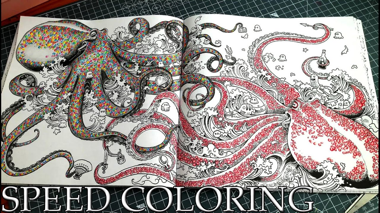 Coloring Book Animorphia Octopus with Polychromos Colored ...