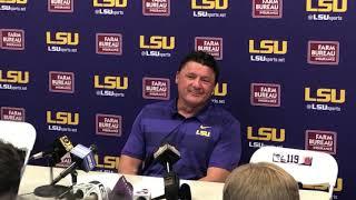 LSU coach add Orgeron reacts to 22-21 upset of Auburn