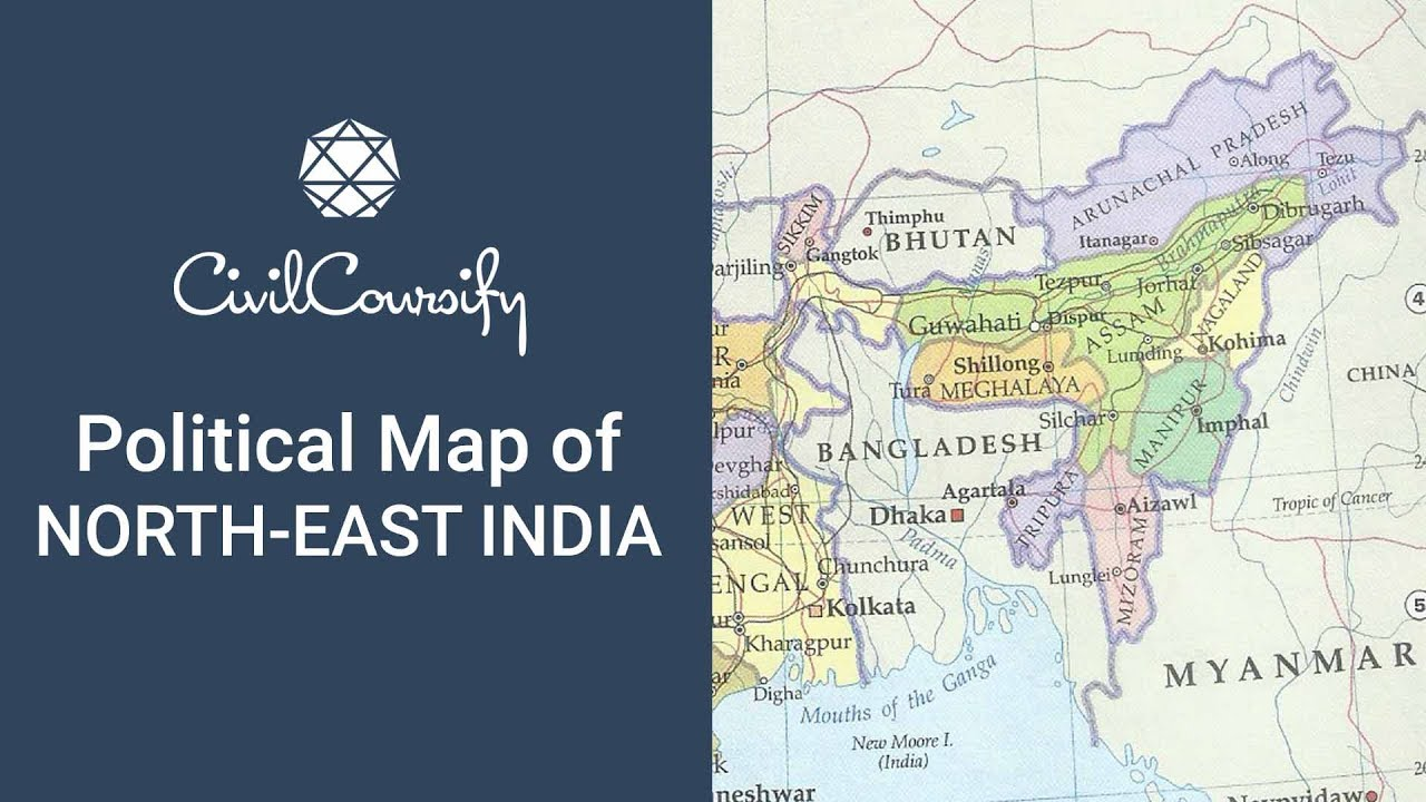 Poiltical Map Of North East India Indian Geography Mapping Free
