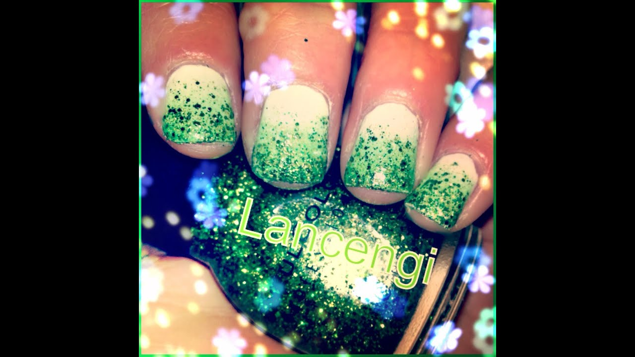 Easy Nail Art: Tutorial || March Saint Patrick\'s Day Glitter ...