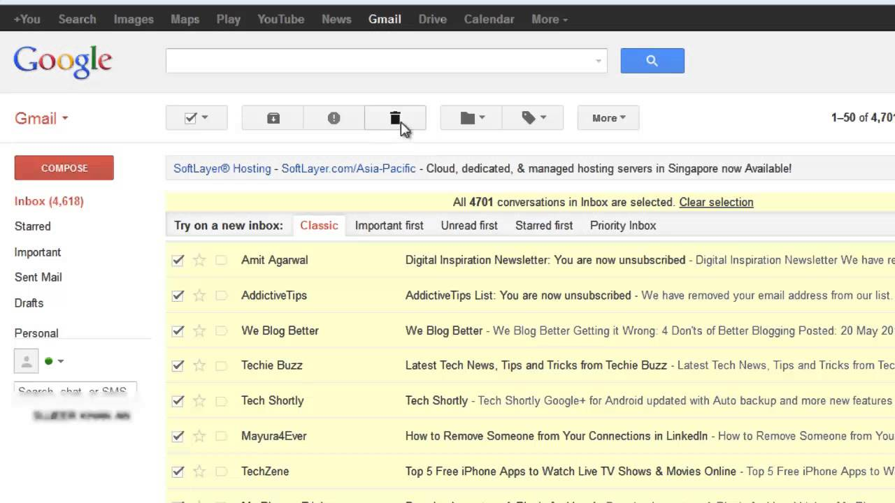 how to delete all emails from gmail inbox