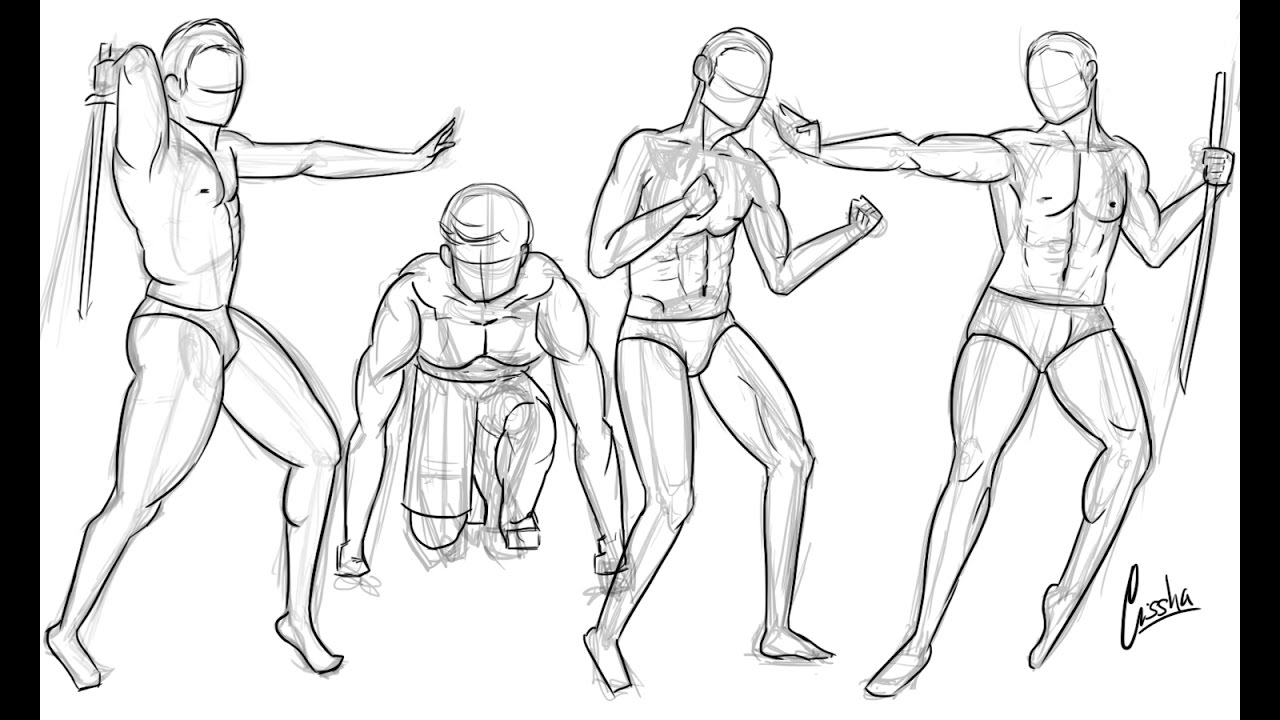 Day 9 Anatomy Practicing How To Draw Different Poses For Male