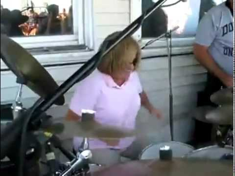 Mom destorys Wipeout on drums