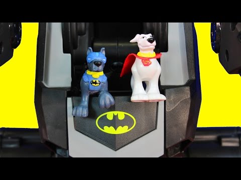 Imaginext Batman Batdog Ace & Superman Superdog with Batbot Save Transformers Rescue Bot from Robots