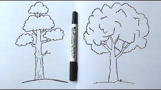 Как нарисовать дерево за 5-минут - Очень легко