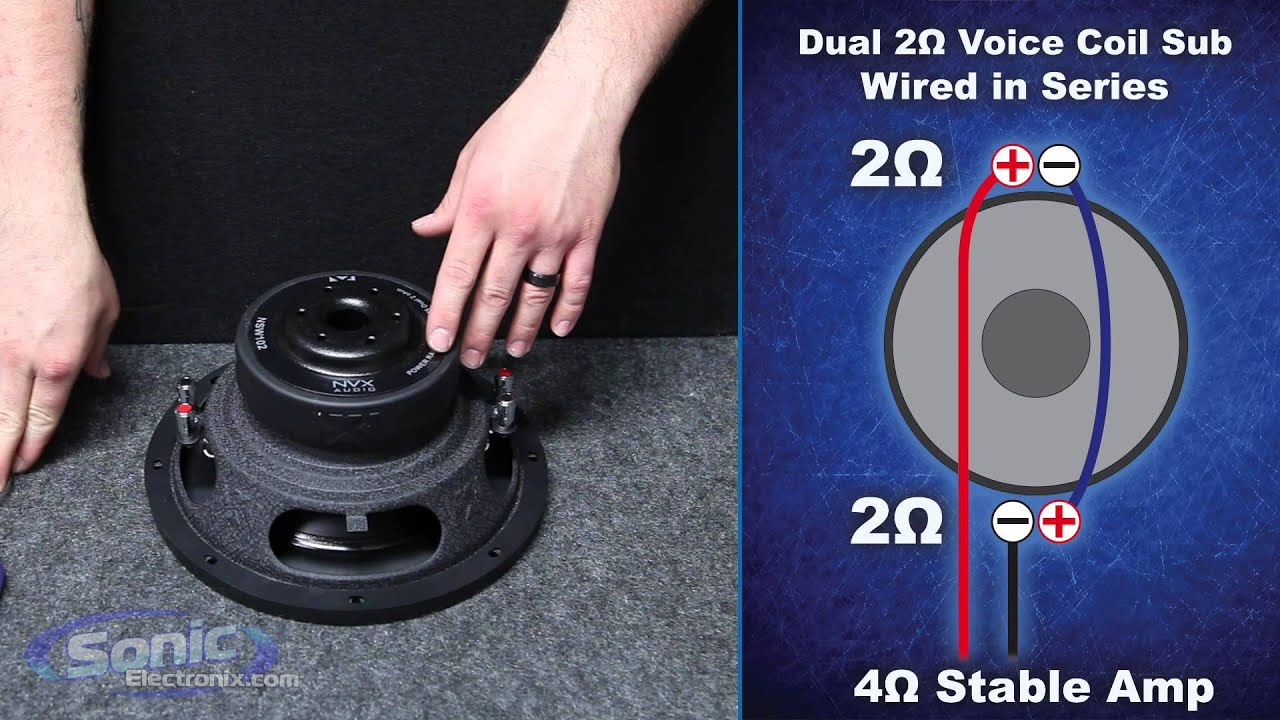 how to wire a dual 2 ohm subwoofer to a 4 ohm final impedance car audio 101 [ 1280 x 720 Pixel ]