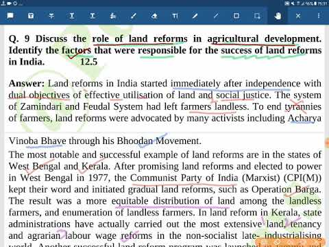 GS3-16 Q  9 Discuss the role of land reforms in agricultural development   Identify success factors