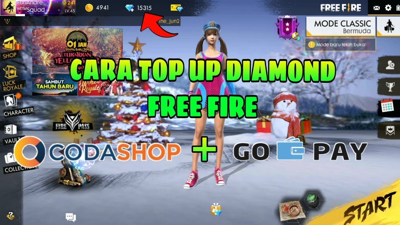 Cara Top Up Diamond Free Fire Di Codashop Via Gopay Garena Free Fire Indonesia Youtube