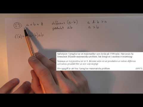 Matematik 3c - Lösning av nationella provet ht-2012 del D thumbnail