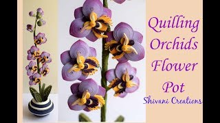 Quilling Orchids Flower Pot/ Quilled Orchid Flowers/ 3D Quilling