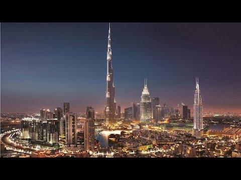 Dubai downtown night view