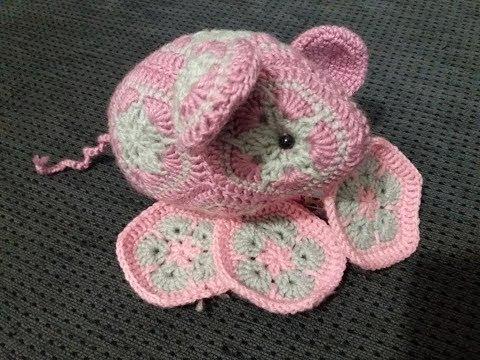 Мышка из индийских мотивов  (вязание двуцветного мотива)
