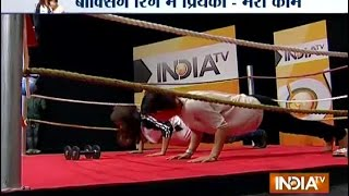 Watch Mary Kom Vs Priyanka Chopra In A Push-up Competition - India TV