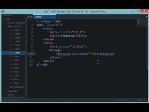 HTML and CSS Tutorial 15: Textarea