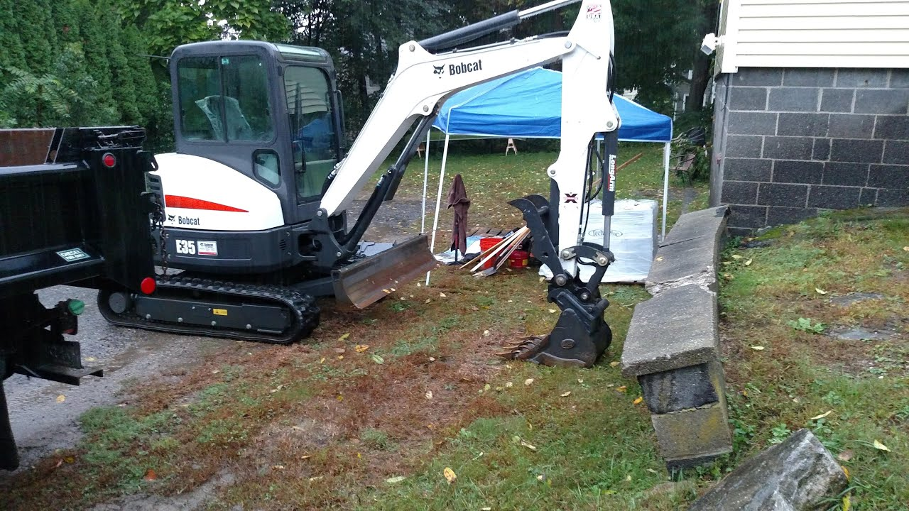 Bobcat E35 Mini Excavator Demolishing Concrete Wall YouTube