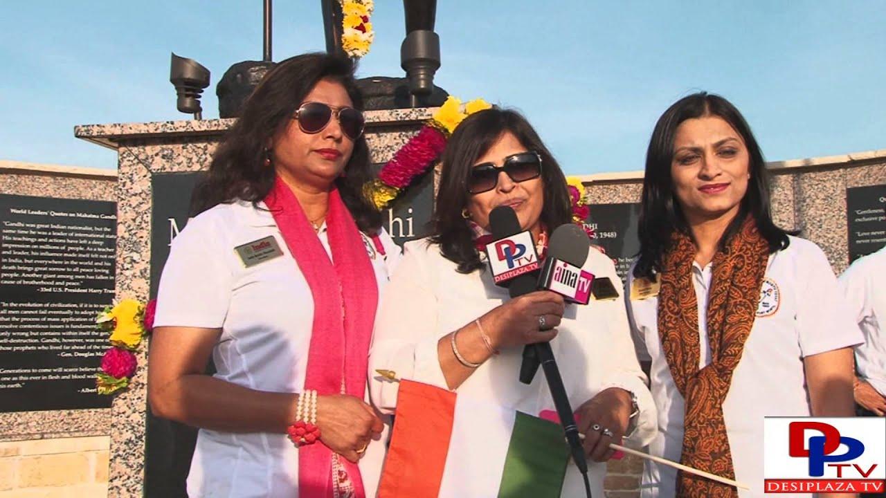 Swati Shah,Past President of India Association of North Texas speaking  at Gandhi Jayanti celebration