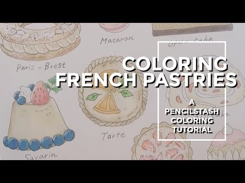 PencilStash Adult Coloring Tutorial:  French Pastries from Romantic Country