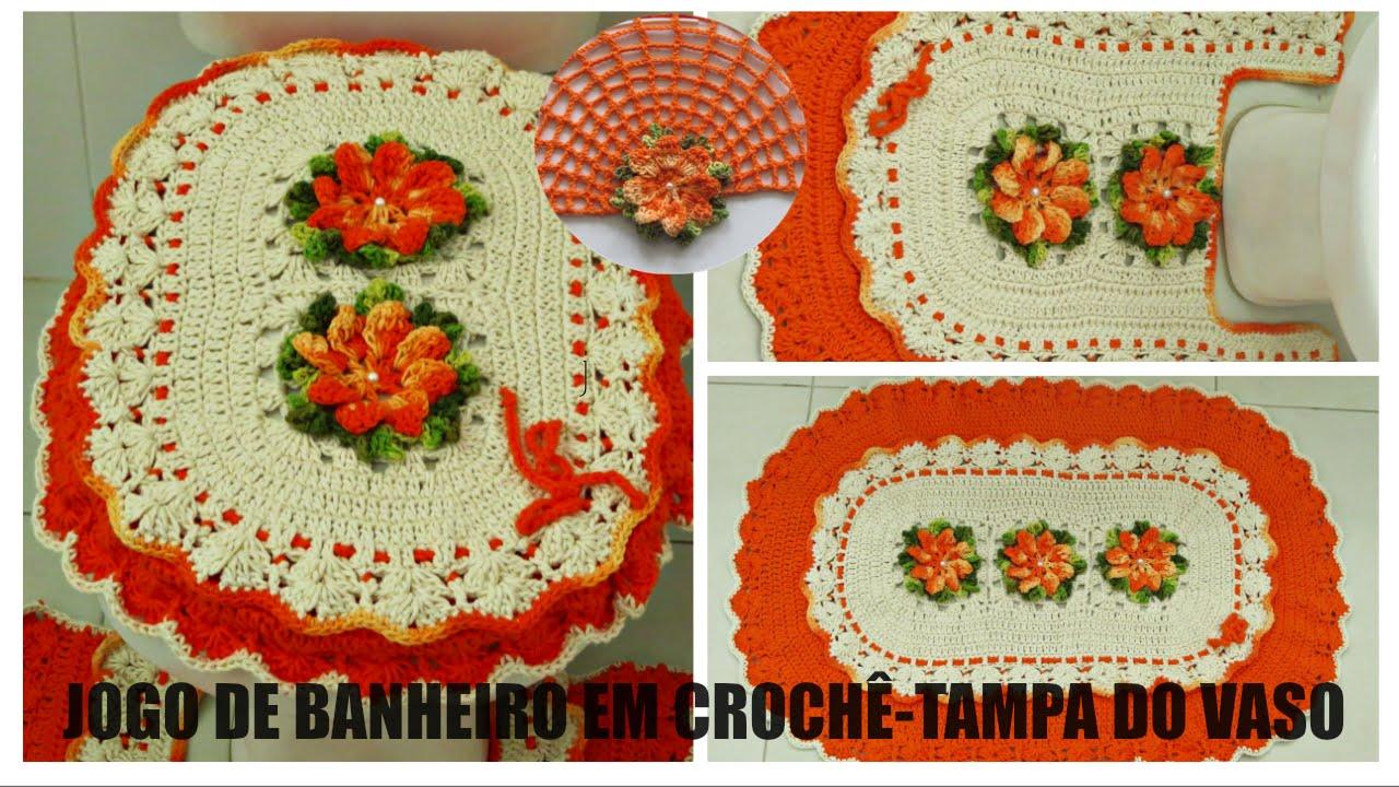 Jogo de Banheiro em Crochê Tampa do Vaso  YouTube -> Jogo De Banheiro Simples Em Croche Passo A Passo