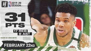Giannis Antetokounmpo 31 Pts 17 Reb Full Highlights   76ers vs Bucks   February 22, 2020