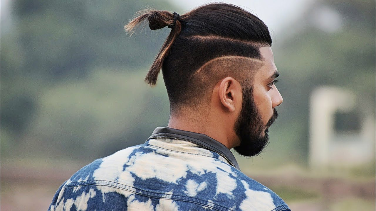 Long Length Haircut For Indian Men With Side Faded Line Get The Look Youtube