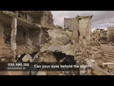 Syria Devastation drone footage with Colonel Bagshot's Six Day War
