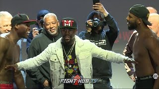 ADONIS STEVENSON & BADOU JACK GO BACK & FORTH AT WEIGH IN AS FLOYD MAYWEATHER SEPARATES THEM