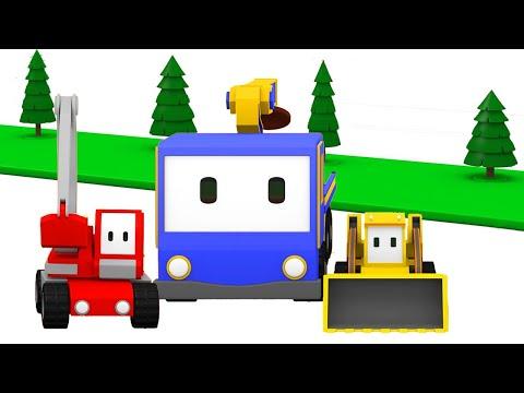 Planting Trees !  - Tiny Trucks for Kids with Street Vehicles Bulldozer, Excavator & Crane