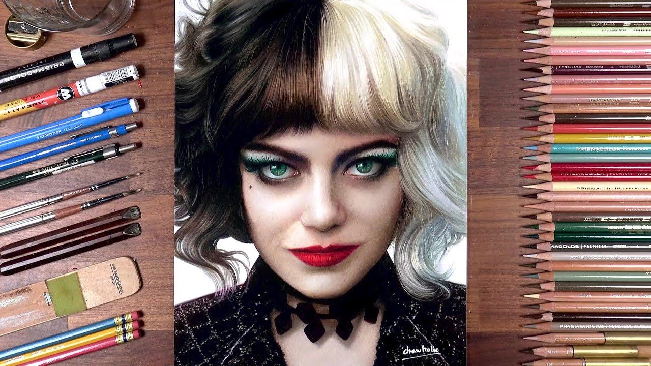 Drawing Cruella De Vil (Emma Stone) | drawholic