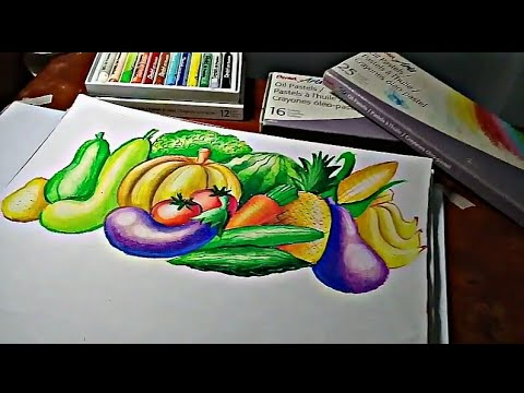 different vegetables and fruits for nutrition month poster making timelapse