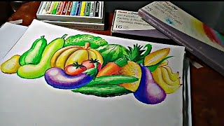 Different Vegetables and Fruits for nutrition month poster making/Timelapse Video