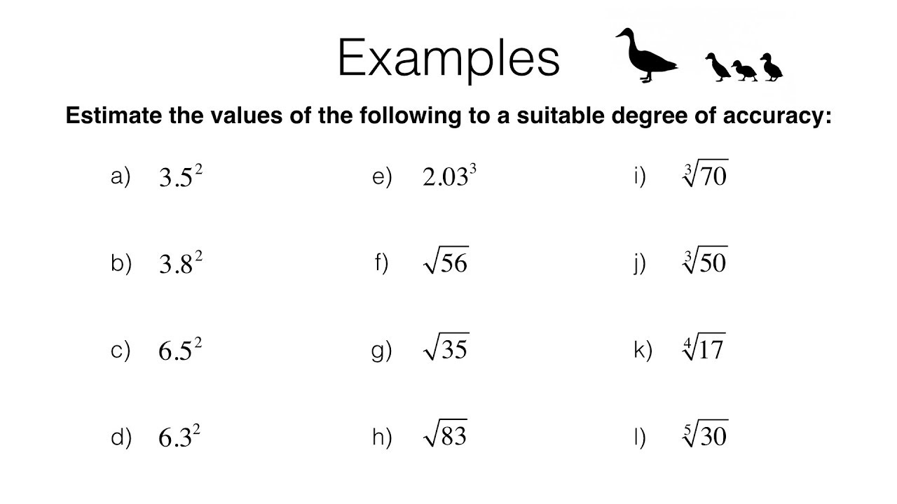 Printables of Integers Powers And Roots Worksheets