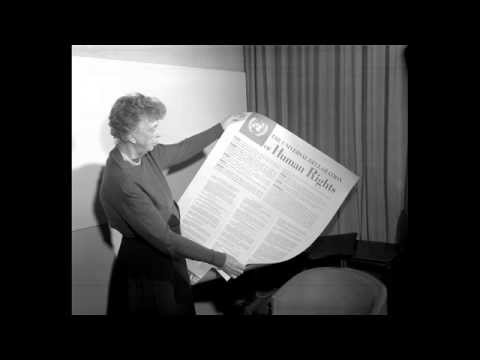 Mrs. Eleanor Roosevelt reads from the Declaration of Human Rights