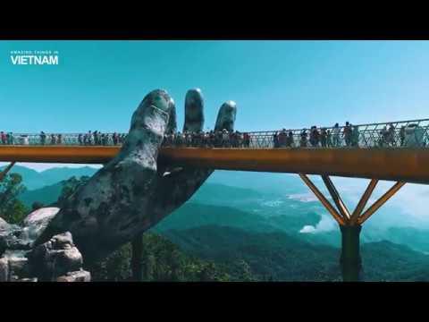 Golden bridge on Ba Na Hills, Da Nang, Vietnam