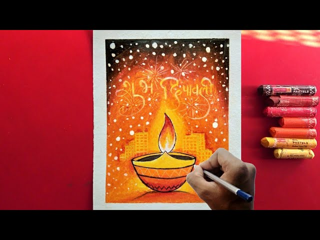 How to draw diwali festival drawing with oil pastels for Beginners !