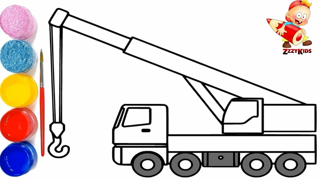Crane Coloring And Drawing Construction Trucks For Kids Toy Art