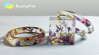 How to make a BRACELET and PAPERWEIGHT. Dried Flowers 🌼 and Resin