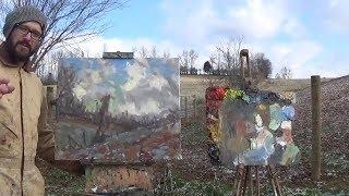 Beginner Plein Air Oil Painting Demonstration Art Lesson #5 Sky Kyle Buckland