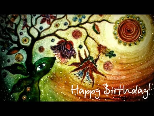 Wish you a happy birthday Поздравительная открытка с Днем рождения песочная анимация