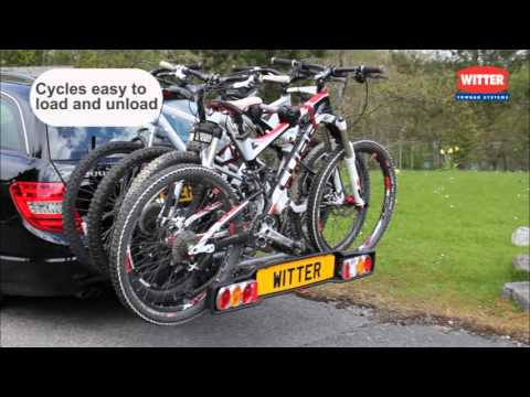 ZX408 Four Bike Cycle Carrier from Witter Towbars - YouTube