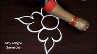 Easy free hand rangoli kolam designs by Suneetha  || simple cute arts || latest muggulu