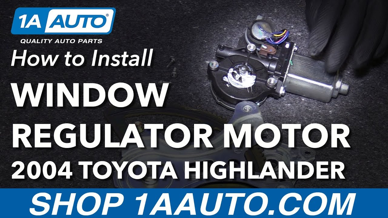 how to replace power window regulator motor front driver side 01 07 toyota highlander [ 1280 x 720 Pixel ]