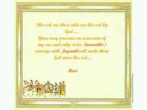 Sister39s wedding invitation youtube for Wedding invitation quotes in english for sister marriage
