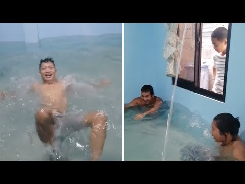 Family Turns Living Room Into Swimming Pool