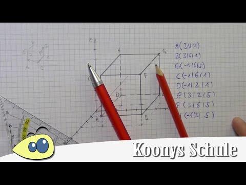 Würfel zeichnen und fehlende Koordinaten bestimmen | 3D, Vektorrechnung, Abitur