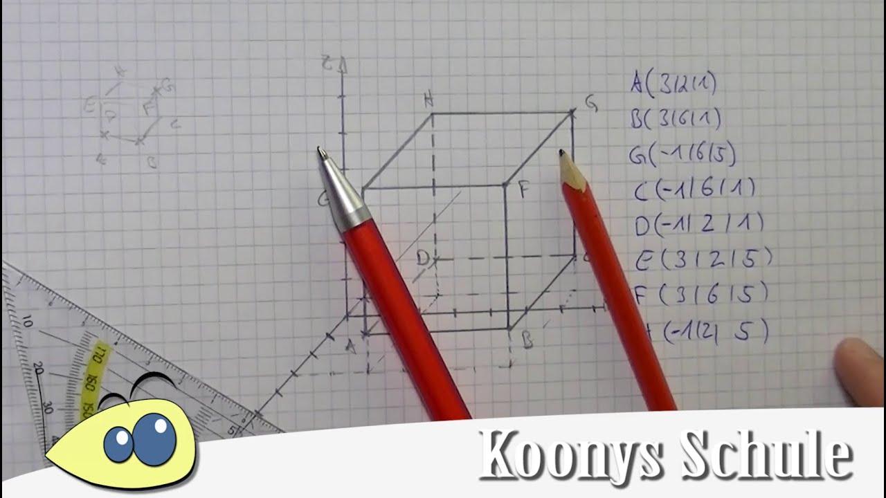 Würfel zeichnen und fehlende Koordinaten bestimmen | 3D ...