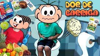 CEBOLINHA COM DOR DE BARRIGA | Turma da monica Mônica | children pretend to eat sweets and fruits
