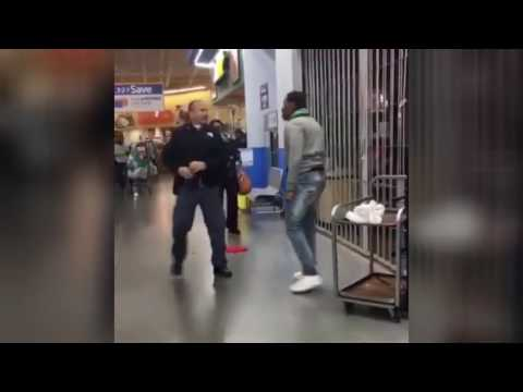 WALMART FIGHT: Guy's Altercation With Officer - He's Not Afraid of Him (VIDEO)