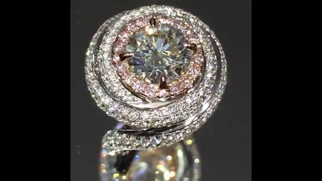 3 cttw Round and Pink Diamond Cartier style Engagement Ring   YouTube